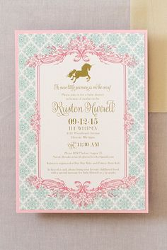 Unicorns were the theme for this fairytale baby shower. An elegant baby shower theme for a girl baby! CLICK through to see more baby shower ideas.
