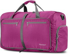 Gonex Travel Duffel Bag Foldable Water Resistant Travel Bag Lightweight Duffel Bag with Big Capacity for Luggage Gym Sports Rose red - Top Luggage UK Luggage Straps, Luggage Bags, Hand Luggage, Travel Luggage, Childrens Luggage, Duffle Bag Travel, Duffel Bags, Large Suitcase, Lightweight Luggage