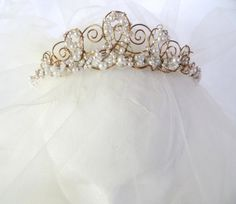 Olivia Filigree Pearl Bridal Tiara OOAK Handmade by SusieBDesign, $85.00