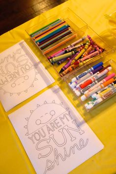 You are my sunshine birthday party coloring activity!  See more party planning ideas at CatchMyParty.com!