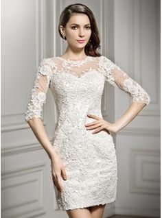 Sheath/Column Scoop Neck Short/Mini Zipper Up Sleeves 1/2 Sleeves Beach Hall Reception General No Spring Summer Fall Ivory Lace Wedding Dress