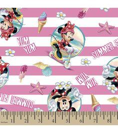 Disney Minnie Beach Stripe Cotton Fabric