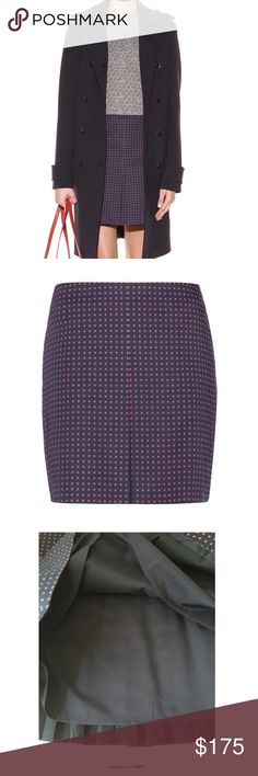 NWT Tory Burch   Pleated Skirt with Daisy Dots From the web-The clean cut of this Tory Burch miniskirt gives it a youthful, streetwise appeal. The pleats - wide to the front and more classically narrow to the rear - recall certain varsity codes whilst offering a refined silhouette. Wear with boots, be they bikers or knee-highs, for the perfect off-duty feel to your day wear.  Zipped side, hook fastening 97% cotton, 3% elastane Lining: 100% polyester Dry clean Designer colour name: Tory Navy…