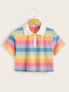 To find out about the Rainbow Stripe Crop Polo Tee at SHEIN, part of our latestT-Shirts ready to shop online today! Romwe, Cute Fashion, Fashion Outfits, Fashion Styles, Emo Fashion, Womens Fashion, Mode Kawaii, Vetement Fashion, Polo Tees