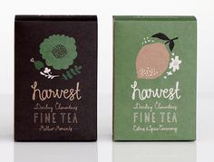 Image of HARVEST FINE TEA #packaging #design #typography #tea  Another couple of varieties (see other pin)