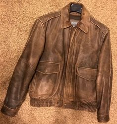 ce850b62dfe Vintage Type A-2 Flights Bomber Brown Leather Jacket by Wilson ...