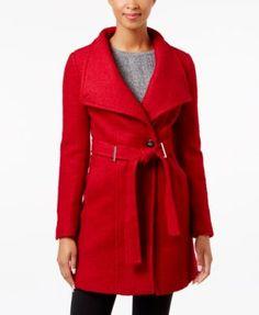 Calvin Klein Wool-blend Asymmetrical Walker Coat In Red Calvin Klein, Asymmetrical Coat, Coats For Women, Clothes For Women, Wool Blend, Autumn Fashion, Women's Fashion, Dress Up, Long Sleeve
