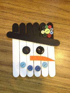 craft stick projects for kids | Craft stick snowman classroom project. | Crafts for kids