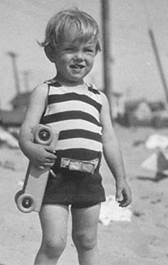 Norma Jeane (Marilyn Monroe)as a toddler on an outing at Santa Monica Beach, 1928.