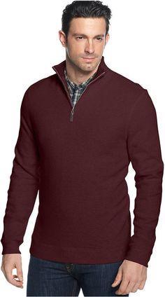 Tasso Elba Sweater, Quarter-Zip Mock Neck French Ribbed Pullover