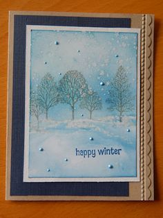 Lovely as a Tree stamped on sponged snowy landscape . pearls scattered around . luv the serene look . Stampin' Up! by regina Stamped Christmas Cards, Xmas Cards, Holiday Cards, Christmas Crafts, Handmade Christmas, Christmas Trees, Scrapbooking, Scrapbook Cards, Handmade Greetings