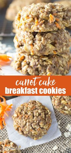 Thick, soft, and full of fresh carrot and apple, these Carrot Cake Breakfast Cookies are the best healthy make ahead breakfast or snack! These homemade oatmeal cookies are perfect for kids' lunchboxes. Easy to make and gluten free recipe. Homemade Oatmeal Cookies, Oatmeal Breakfast Cookies, Breakfast Cake, Healthy Breakfast Cookies, Healthy Oatmeal Cookies, Apple Breakfast, Oatmeal Apple Cookies, Oatmeal Breakfast Recipes, Healthy Cookies For Kids