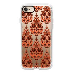 Halloween damask ikat transparent - iPhone 7 Case, iPhone 7 Plus Case,... (170 RON) ❤ liked on Polyvore featuring accessories, tech accessories, iphone case, transparent iphone case, iphone cases, apple iphone case, slim iphone case and iphone cover case