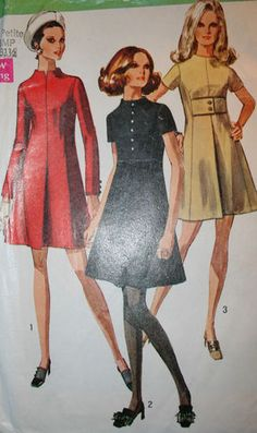 Vintage Sewing Dress Pattern Simplicity 1960s Petite Dress Inched waist tie