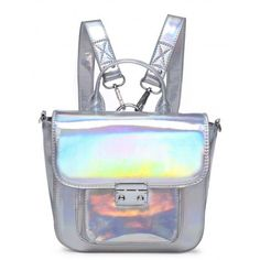 ULTRAVIOLET LASER MINI HOLOGRAPHIC SATCHEL - Backpacks - Bags - LAMODA ($30) ❤ liked on Polyvore featuring bags, handbags, mini satchel, hologram purse, mini backpack purse, mini backpack and backpack satchel
