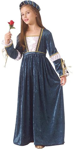 Your child can become the beautiful girl made famous by Shakespeare's play! Costume can also be used in many other situations including theatrical and costume events. Bluish velvet dress with white pi