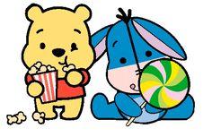Desenho Pooh e Io baby fofinhos colorido com fundo transparente