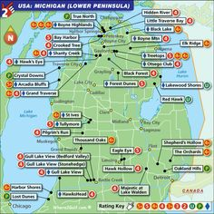 maps of golf courses in northern michigan   Golf Courses In Michigan Map