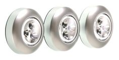 Fulcrum 30010-301 LED Battery-Operated Stick-On Tap Light, Silver, 3 Pack