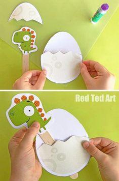 Pop Up Dinosaur Juniors (inspired by Rob Biddulph) - Red Ted Art - Make crafting with kids easy & fun Easy Crafts For Kids, Toddler Crafts, Diy For Kids, Diy And Crafts, Arts And Crafts, Paper Crafts, Art Crafts, Toddler Preschool, Dinosaur Activities