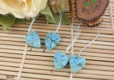 {Welcome to Sparklelittle!} Sleeping Beauty Turquoise heart shape pendants Size: A : B : C : D : - this is only an approximate measurement. one side natural rough { D e s c r i p t i o n } The Sleeping Beauty Diy Jewelry, Gemstone Jewelry, Vintage Jewelry, Jewelry Design, Unique Jewelry, Stone Pendants, Stone Beads, Sleeping Beauty Turquoise, Heart Shapes