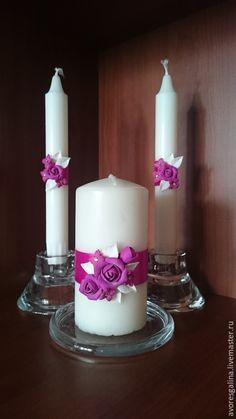 Купить свечи свадебные домашний очаг - фуксия, свадьба, свадебные аксессуары, свечи ручной работы