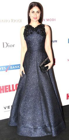 Kareena Kapoor looked elegant in a navy blue Andrew Gn gown at the red carpet at the Hello! Hall Of Fame Awards 2014.