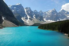 """i need to go. theworldwelivein: """" Moraine Lake, Alberta, Canada © NaturalLight Moraine Lake is a glacially-fed lake in Banff National Park, 14 kilometres mi) outside the Village of Lake Louise,. Vacation Destinations, Dream Vacations, Vacation Spots, Oh The Places You'll Go, Places To Travel, Places To Visit, Image Nature, Nature Photos, Nature Nature"""