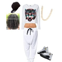rawr. Simple urban outfit. Gold chain. Jordan Taxis. White joggers. Black snapback. Natural hair polyvore. Dope girl swag.