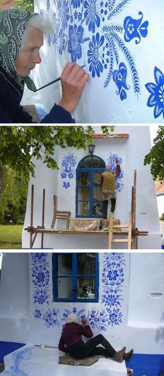 Grandma in the Czech Republic Passes Time By Artistically Painting Houses Even at 90 years old, Agnes Kasparkova passes her free time painting decorative flower motifs on buildings in the Czech village of Louka. Time Painting, House Painting, Building Painting, Painting Walls, Garden Wall Art, Deco Design, Floral Motif, Flower Decorations, Wall Murals