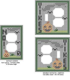 Basic patterns for different switch/outlet combos Plastic Canvas Coasters, Plastic Canvas Crafts, Plastic Canvas Patterns, Decorative Light Switch Covers, Switch Plate Covers, Switch Plates, Cross Stitch Cards, Beaded Cross Stitch, Perler Bead Emoji