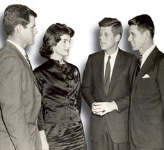 From left to right: Ted Kennedy, Jackie Kennedy, John Kennedy and Robert Kennedy during a 1958 visit to U.Va.