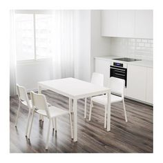 IKEA VANGSTA extendable table The extra leaf can be stored within easy reach under the table top.