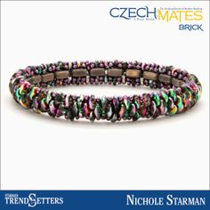 CzechMates Brick and SuperDuo bead bracelet by Starman TrendSetter Nichole Starman -- Hilltop Promenade pattern free to Bead Stores