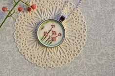 Botanical jewelry necklace, Flower pendant necklace, Gift for her jewelry, Flower necklace, Hand-made jewelry, Botanical pendant necklace