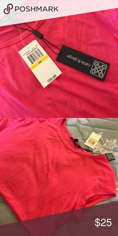 New Plain classy pink t Cable & Gauge Tops Blouses