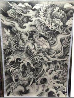 Japanese Snake Tattoo, Tattoo Japanese Style, Japanese Dragon Tattoos, Japanese Tattoo Designs, Dragon Illustration, Tattoo Illustration, Samurai Warrior Tattoo, Japan Tattoo Design, Tattoo Tradicional