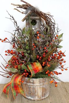 Country Fall Decor | Fall Country Decor Birdhouse Planter Berries by FloralsFromHome, $78 ...