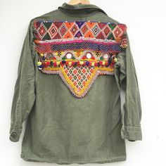 Vintage tribal beaded army shirts. Available now!