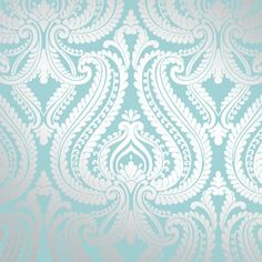 I Love Wallpaper Shimmer Damask Metallic Wallpaper Teal / Silver - want this for my living room!