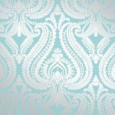 I Love Wallpaper Shimmer Damask Metallic Feature Wallpaper Teal Silver | eBay