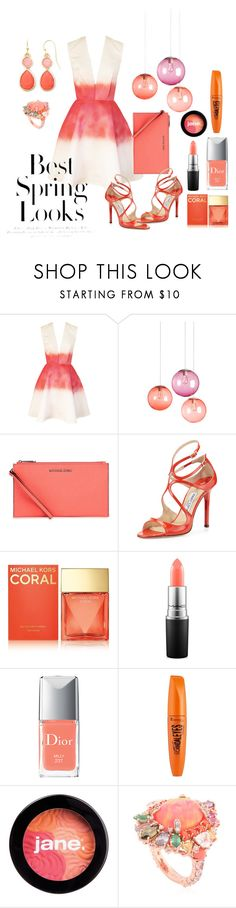 """""""Peaches #springlook"""" by xmoonagedaydreamx ❤ liked on Polyvore featuring Joana Almagro, Fatboy, Michael Kors, Jimmy Choo, MAC Cosmetics, Christian Dior, Rimmel, jane, Anabela Chan and Liz Claiborne"""