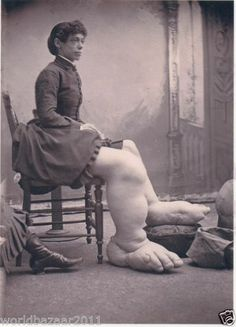 VICTORIAN CURIOSITY WOMAN WITH BIG FEET CIRCUS SIDESHOW FREAKSHOW FREAK SHOW