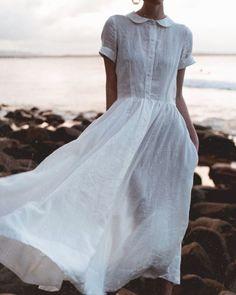 Dress For Summer, Summer Dresses, Brown Dress, White Dress, Vestidos Color Azul, Floryday Vestidos, Tokyo Street Fashion, Peter Pan Collar Dress, Peter Pan Dress