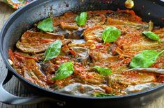 This rich and hearty braised eggplant in fresh tomato sauce is a great way to utilize your fresh summer veggies. Light, nutritious and full of flavor! Eggplant Dishes, Eggplant Recipes, Vegetable Side Dishes, Vegetable Recipes, Asparagus, Broccoli, Quinoa Gluten Free, Tomato Sauce, Cauliflower