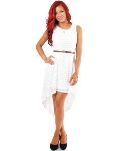 White Lace Dress With Brown Beltwhite Lace Hi Low Dress With Brown Belt Uyeod