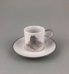 Matterhorn Espressotasse Tea Cups, Porcelain, Berg, Tableware, Gifts, Souvenir, Men, Colour Gray, Love