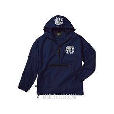 Monogrammed Navy Lightweight Pullover Rain Jacket ($37) ❤ liked on Polyvore featuring outerwear, jackets, pullover rain jacket, monogrammed pullover, lightweight jackets, pullover jacket and light weight jacket