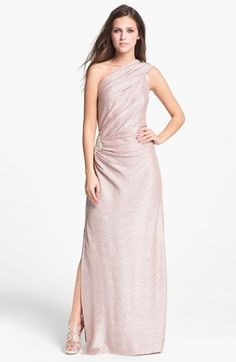 Hailey by Adrianna Papell Metallic One Shoulder Gown (Online Exclusive) available at #Nordstrom - bridesmaids?!?!?