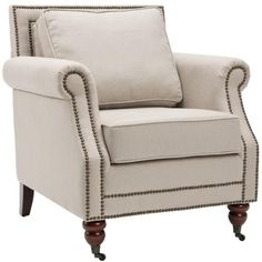 This gray club chair has an elegant look that is only bested by its comfortable feel. The traditional English caster feet look stylish, and the cushioned back is relaxing to anyone who sits in it. The nailhead trim also adds a touch of flair.